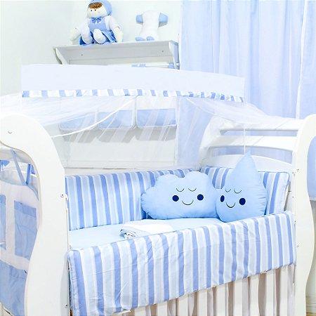 Kit Berço Nuvem e Gotinha Pedro com Almofada Azul Bebê 10 Peças