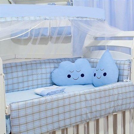 Kit Berço Nuvem E Gotinha Xadrez Azul Com Almofada Azul Bebê