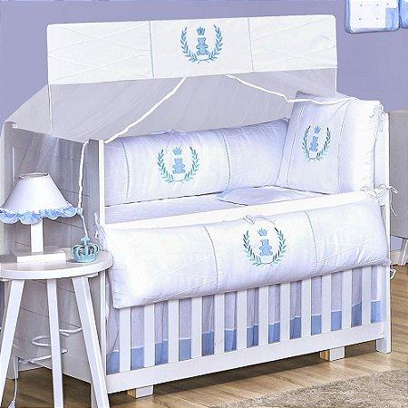 Kit Berço Realeza Azul Bebê 9 Peças