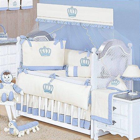Kit Berço Realeza New Azul Bebê 9 Peças