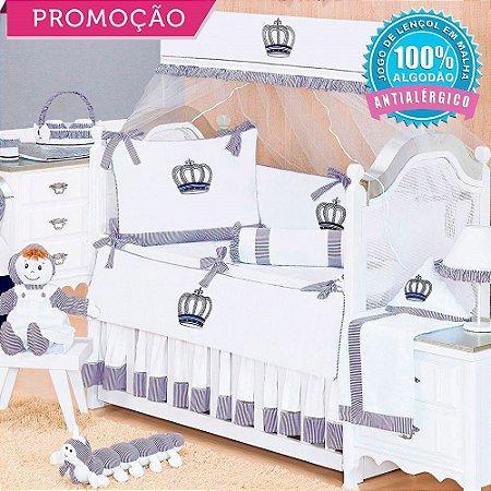 Kit Berço Realeza New Azul Marinho 9 Peças