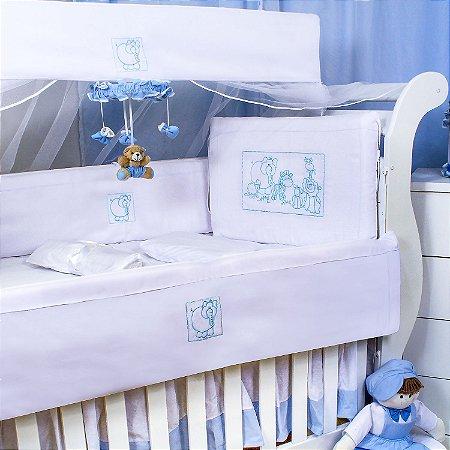 Kit Berço Selvinha Azul Bebê 9 Peças