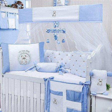 Kit Berço Teddy Lovely Azul Bebê 9 Peças