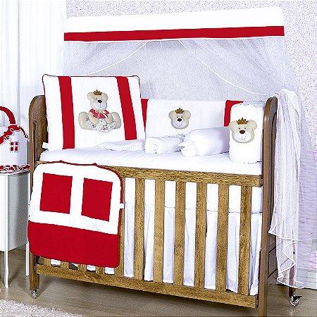 Kit Berço Ursa Rainha Vermelha 10 Peças