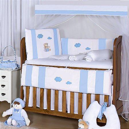 Kit Berço Ursinho Fofinho Azul Bebê 11 Peças