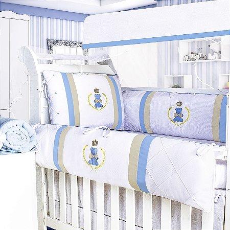 Kit Berço Urso Encantado Azul Bebê 9 Peças