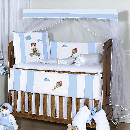 Kit Berço Urso Pipa Azul Bebê 10 Peças