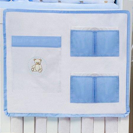 Porta Treco para Berço Teddy Lovely Azul Bebê