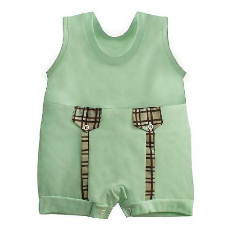 Macacão Para Bebê Xadrez Verde