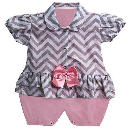 Macacão Para Bebê Chevron Rosa
