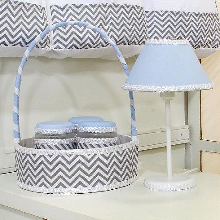 Kit Acessórios 5 Peças Chevron Azul Bebê