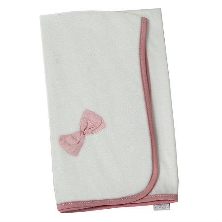Manta Enxoval de Malha Floral Luxo Rosa