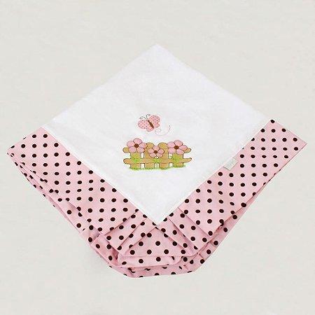 Manta Piquet Ursa Butterfly Rosa