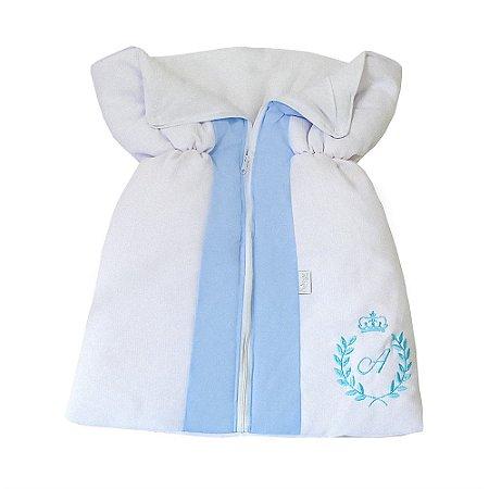 Porta Bebê Com a Inicial do Bebê Bordada Azul Bebê