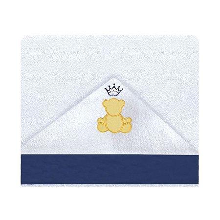 Toalha De Banho Com Capuz Teddy Marinho