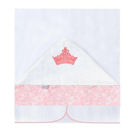 Toalha Fralda Com Capuz Princesinha Rosa