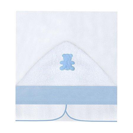 Toalha Fralda Com Capuz Urso Encantado Azul Bebê