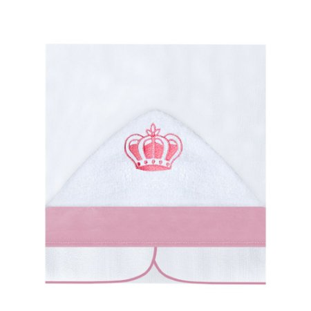 Toalha Fralda com Capuz Coroa Rosa