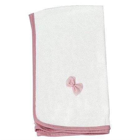 Cueiro De Malha Floral Luxo Rosa