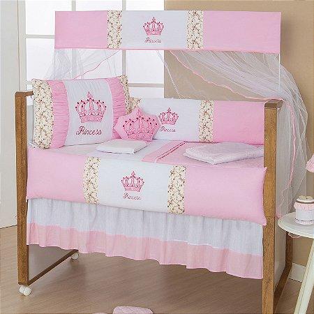 Kit Berço Imperial Princesa Rosa 10 Peças