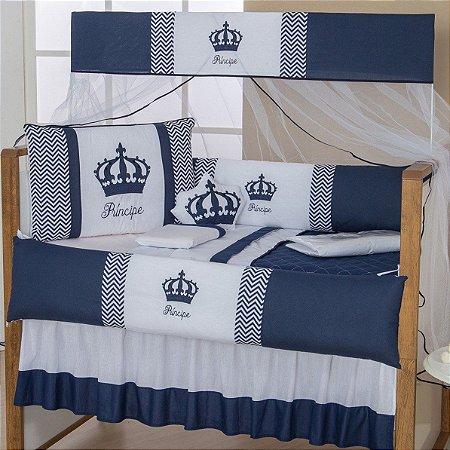 Kit Berço Imperial Príncipe Azul Marinho 10 Peças