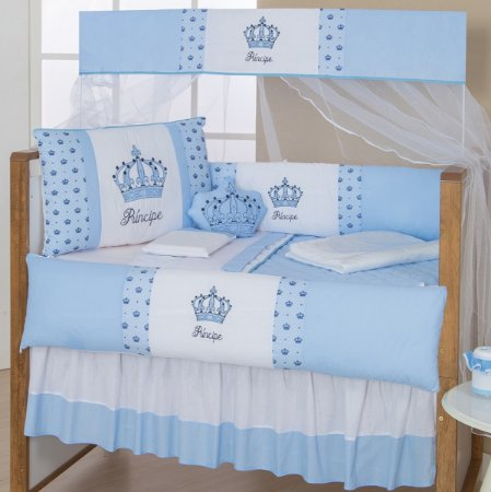 Kit Berço Imperial Príncipe Azul Bebê 10 Peças