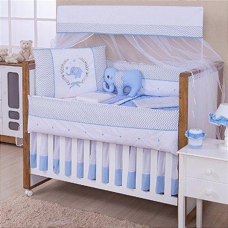 Kit Berço Elefante Azul Bebê 10 Peças
