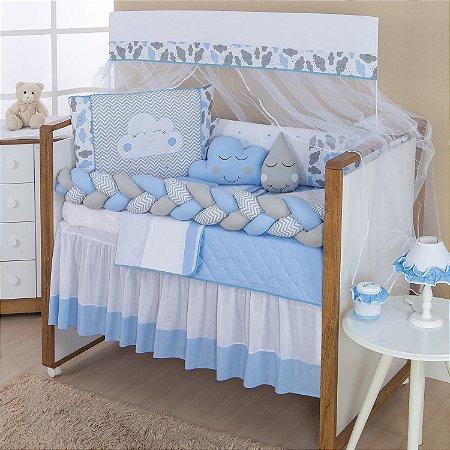 Kit Berço Trança Nuvem Azul Bebê 10 Peças