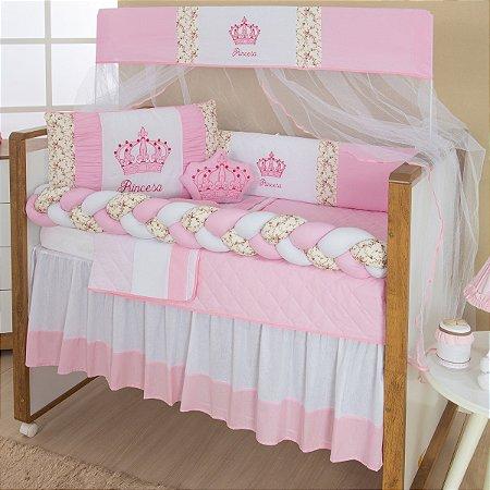 Kit Berço Trança Imperial Princesa Rosa 10 Peças