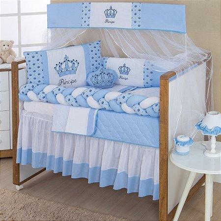 Kit Berço Trança Imperial Príncipe Azul Bebê 10 Peças
