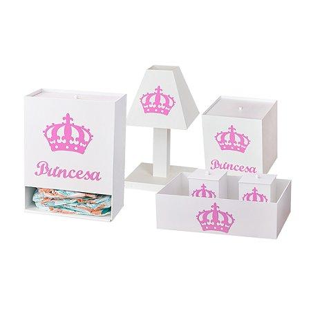 Kit Higiene Imperial Princesa Rosa MDF