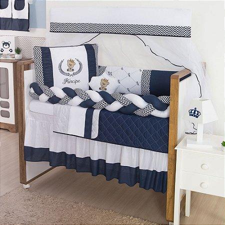 Kit Berço Trança Príncipe Urso Azul Marinho 10 Peças - ENVIO IMEDIATO