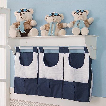 Porta Fraldas de Parede Príncipe Urso Azul Marinho