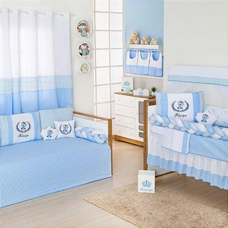 Quarto sem Cama Babá Trança Príncipe Urso Azul Bebê