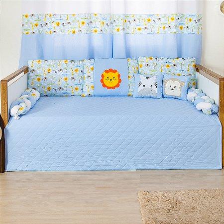 Kit Cama Babá Trança Savana Azul Bebê