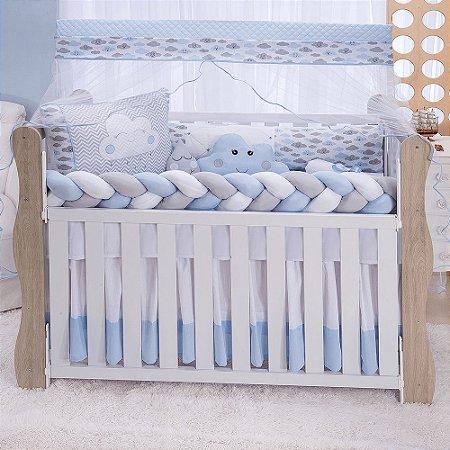 Kit Berço Trança Star Chuvinha Azul Bebê