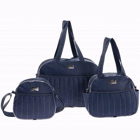 Conjunto de Bolsas Tutti Azul Marinho 3 Peças