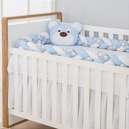 Kit Trança para Berço Urso Dengoso Azul Bebê 2 Peças