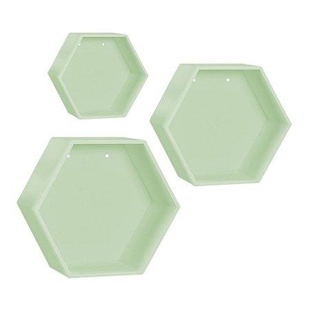Kit de Nichos Colmeia Verde 3 Peças MDF