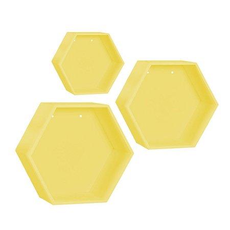 Kit de Nichos Colmeia Amarelo 3 Peças MDF