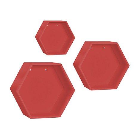 Kit de Nichos Colmeia Vermelho 3 Peças MDF