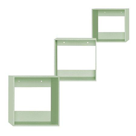 Kit de Nichos Quadrado Verde 3 Peças MDF
