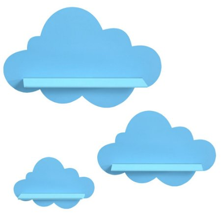 Kit de Prateleiras Nuvem Azul Bebê MDF