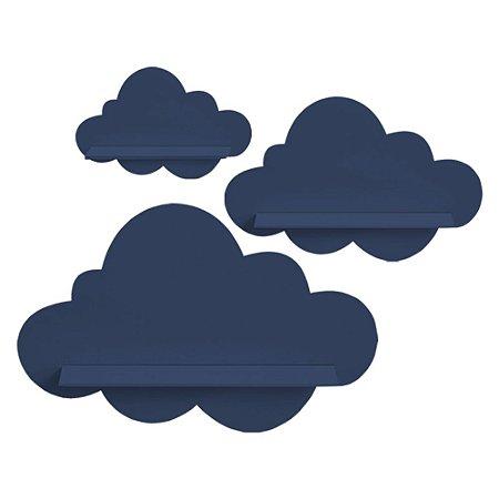 Kit de Prateleiras Nuvem Azul Marinho MDF