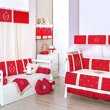 Quarto sem cama babá Com a Inicial do Bebê Bordada Vermelho Luxo