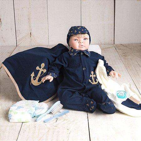 Boneco Bebê Reborn Kiss Marinheiro Luxo com Acessórios