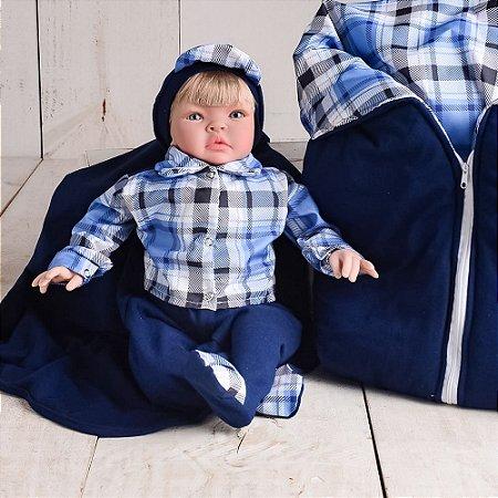 Boneco Bebê Reborn Kiss Xadrez com Porta Bebê