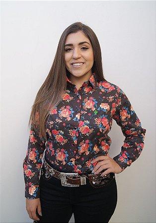 Camisa Feminina Country Floral Preta