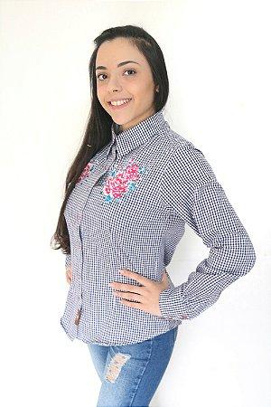 Camisa Feminina Country Xadrez Bordada
