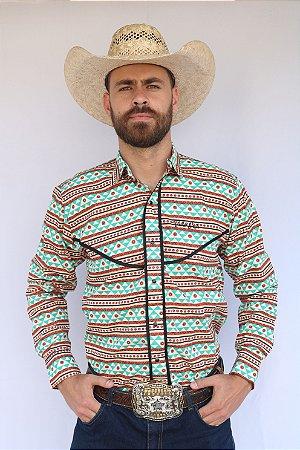 Camisa Masculina Étnica Western